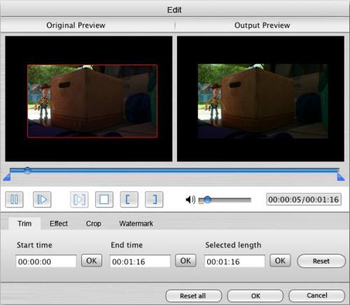 edit Blu-ray effet.