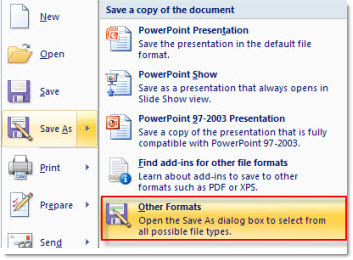 save powerpoint to otherformats